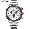 Brand WEIDE Sport Watch Analog LCD Dual Time Display Date Alarm Stopwatch Steel Band 30m Waterproof Men's Quartz Digital Watches