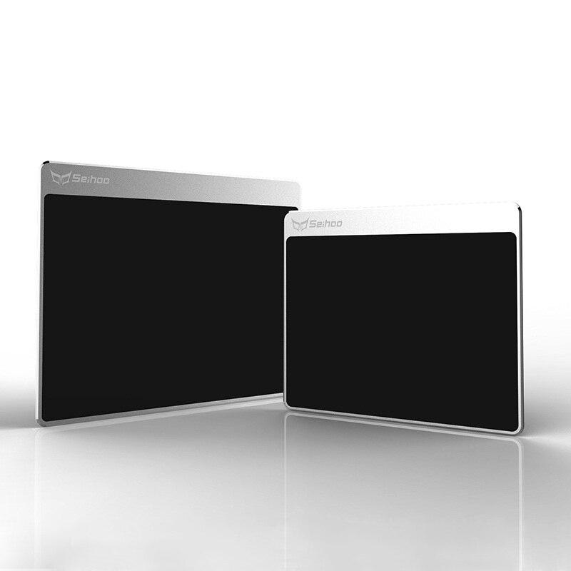 Tapis de souris dur poli résine Surface Fine en alliage d'aluminium anodisé couche intermédiaire Silicone fond cadeau tapis en métal tapis de souris de jeu
