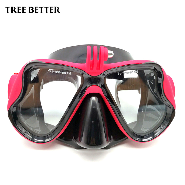 Diving Mask For Gopro Hero 1/2/3/4/5 Diving Goggles Adult Snorkel Swimming msks Tempered Glass Silicone For Waterproof Camera