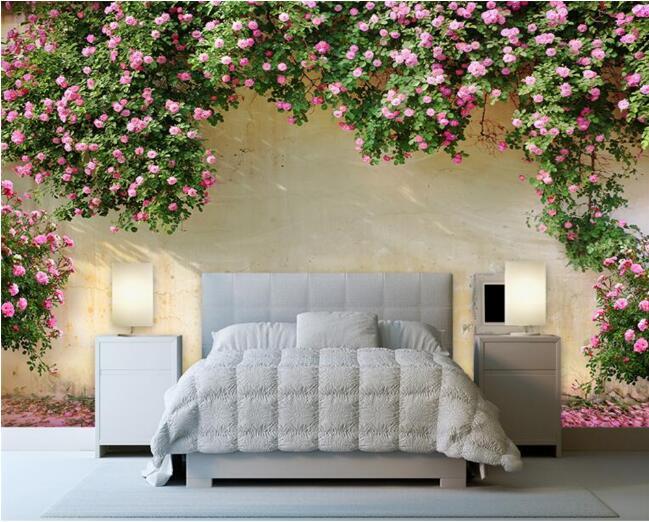 3D Wallpaper Rose Latar Belakang Dinding 3D Ruang Tamu Kamar Tidur TV Latar Belakang Lukisan Dinding