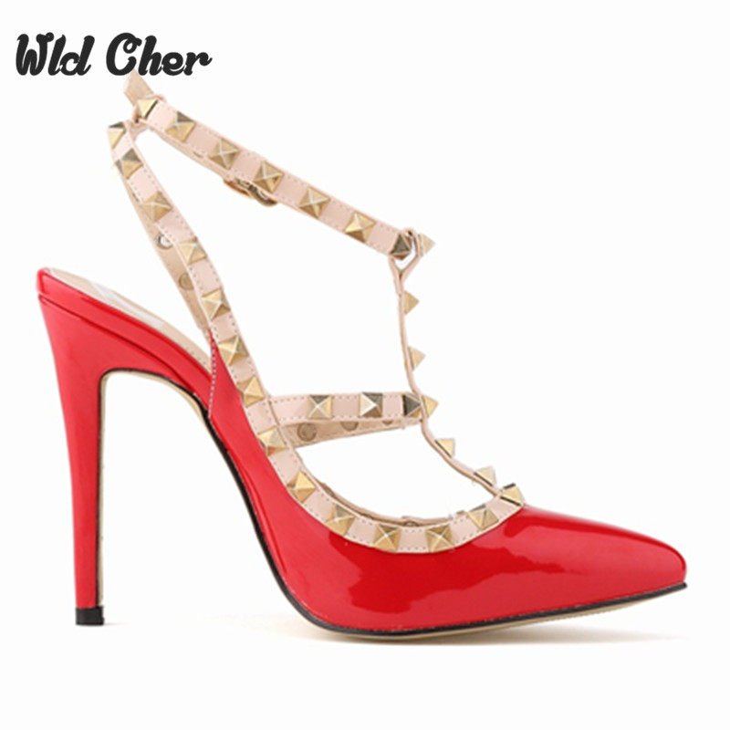ФОТО Free Shipping Punk Rivet Pointed Toe Brand Women Pumps Fashion High Heels Shoes Mulher Pumps Women Wedding Shoes Size 35-42