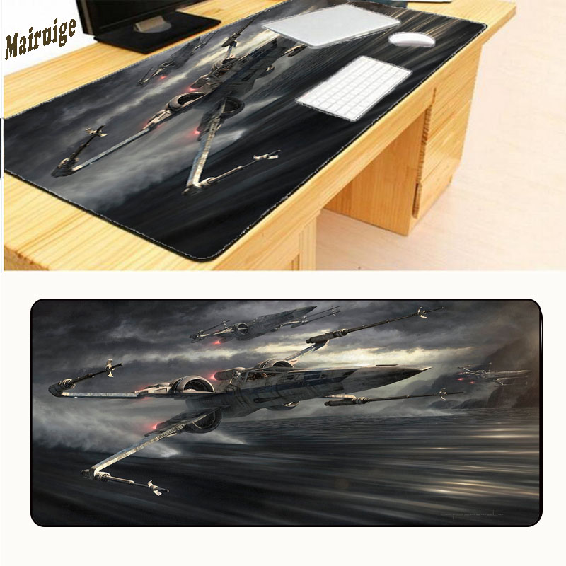 Mairuige Large PC Laptop Notebook Mousemat Gaming Speed Up Lock Edge Mousepad Star Wars Print Rubber Mouse Pad Mice Mat rakoon 30 80cm large gaming mouse pad all black faced red blue black green lock edge rubber speed mouse mat for pc laptop