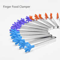 Funny Ice Tongs Mini Food Tongs Sugar Tongs Non-slip Fingers Sleeve Silicone Hand Shape Bread Meat Food Tongs Kitchen Gadgets