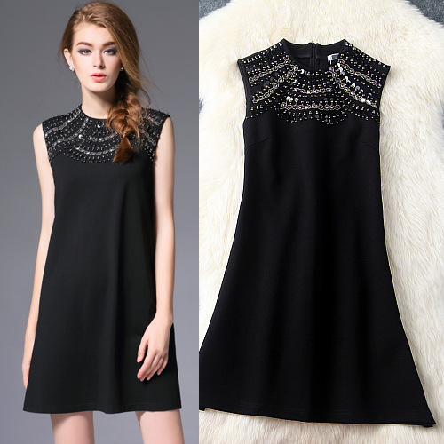 Buy Cheap Autumn Dress 2016 New Women's Clothing Solid Beaded Sequined Sleeveless O-Neck A-Line Slim Short Dresses Female