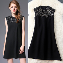 Autumn Dress 2016 New Women's Clothing Solid Beaded Sequined Sleeveless O-Neck A-Line Slim Short Dresses Female