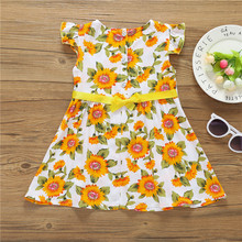 2018 Summer Hugely Popular Little Girl's One-piece Dress Chrysanthemum Design High Quality and Performance Price Ratio