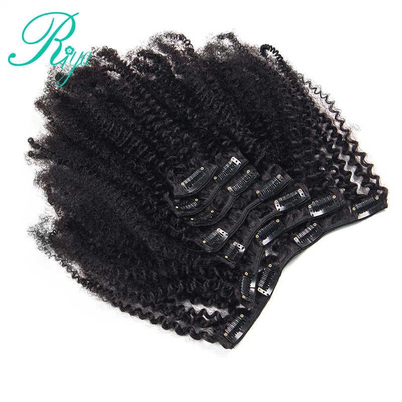 Рия Заколки для волос в бразильский человеческих волос афро кудрявый вьющиеся волосы на заколках для наращивания 8 штук и карточка с 120 г/компл. натуральный Цвет Волосы remy