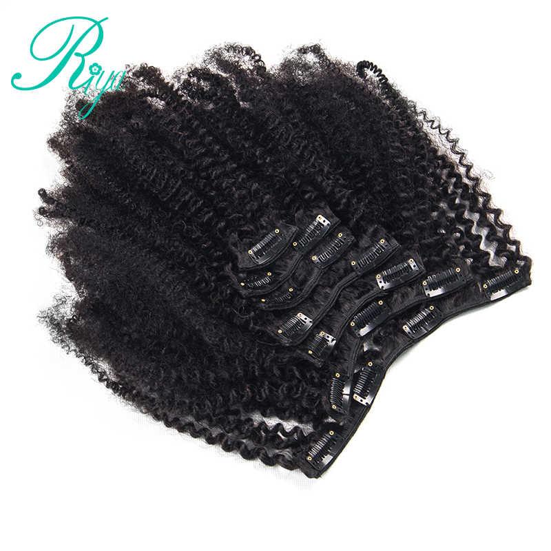 Riya Clips de pelo en cabello humano brasileño Afro rizado Clip en extensiones de cabello 8 piezas y 120 g/Set cabello Remy de Color Natural
