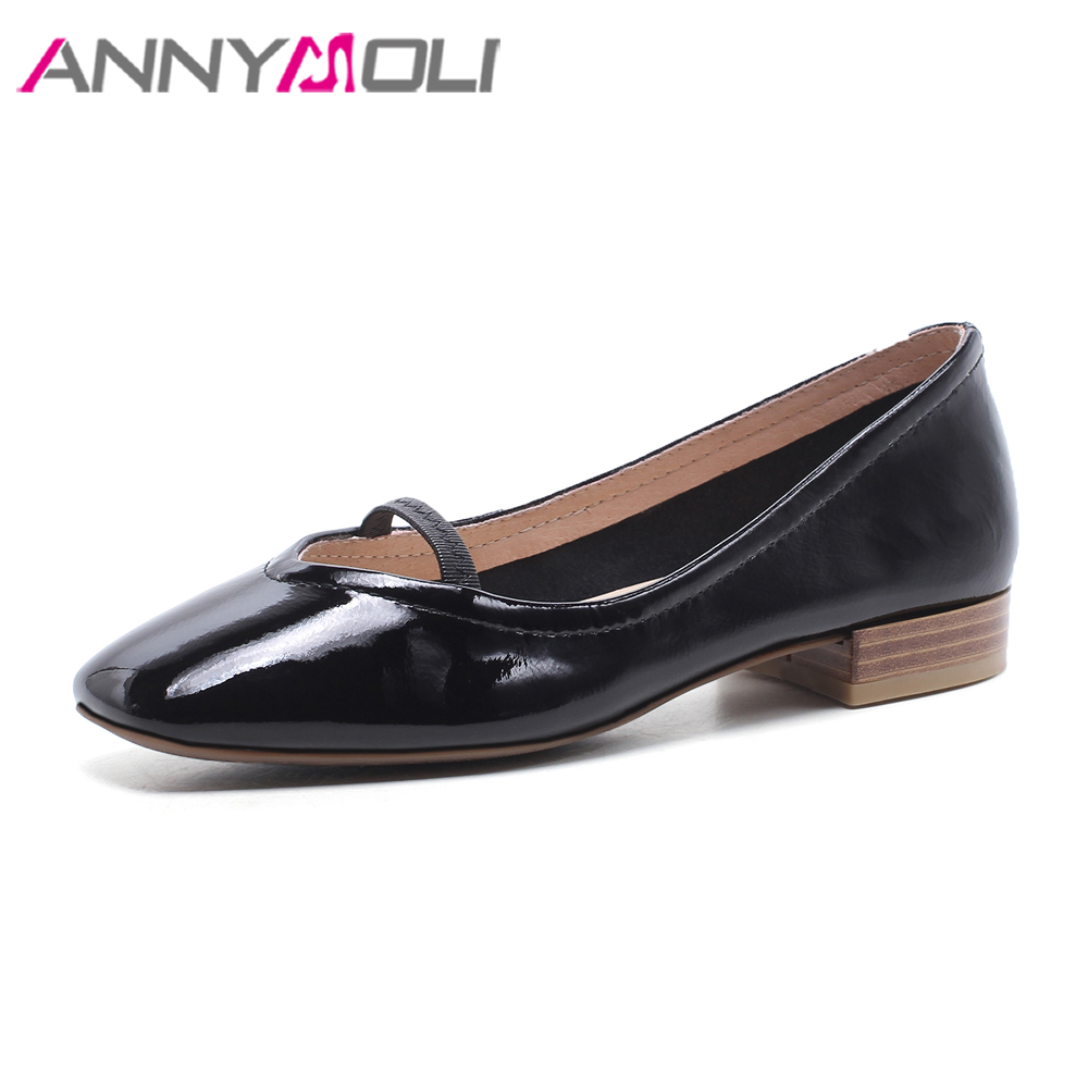ANNYMOLI Natural Patent Leather Shoes Women Flats Square Toe Ballet Flats Genuine Leather Boat Shoes Spring Flats Black White brilliant genuine sheepskin leather flat heel single shoes 2016 spring summer square toe rhinestones black rose red ballet flats