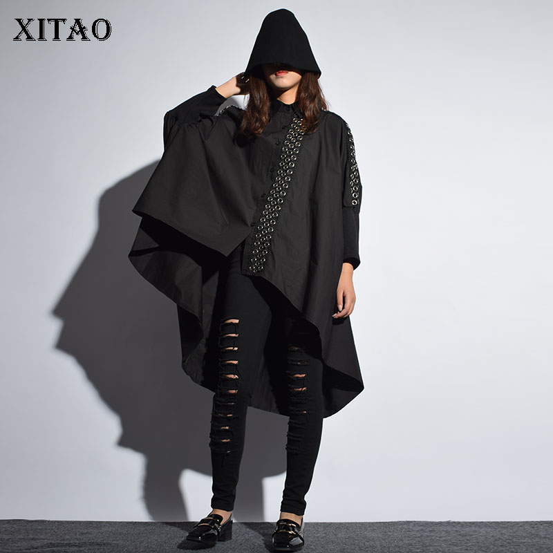 [XITAO] Europe Street 2018 New Autumn Women Single Breasted Loose Irregular Coat Female Metal Ring Decoration Trench LJT3535