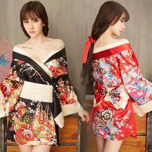 2019 Cherry Blossom Women Sexy Lingerie Hot Porn Japanese Kimono Costumes Erotic Intimate Robe Exotic Apparel