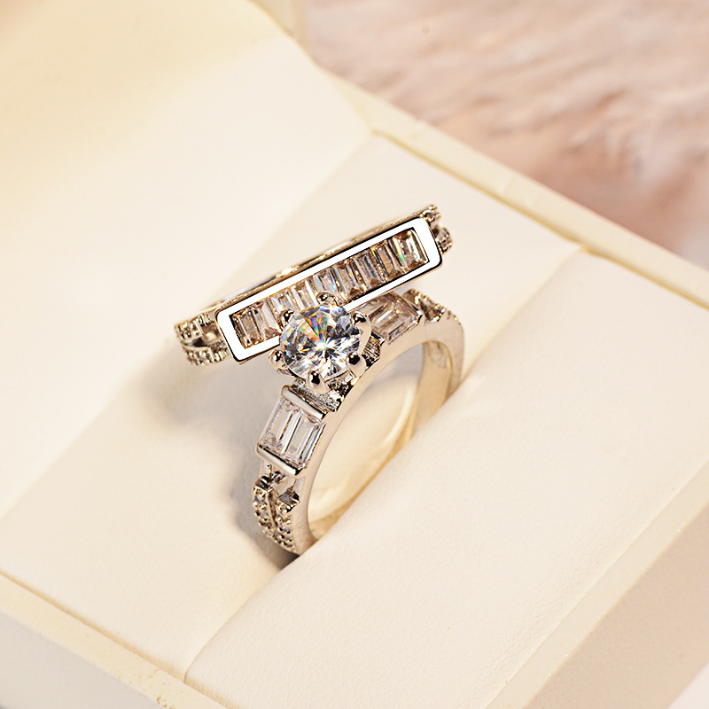 Vintage Luxury Female White AAA Zircon Ring Set Fashion 925 Silver Filled Jewelry Promise Engagement Rings For Women Anillo in Wedding Bands from Jewelry Accessories