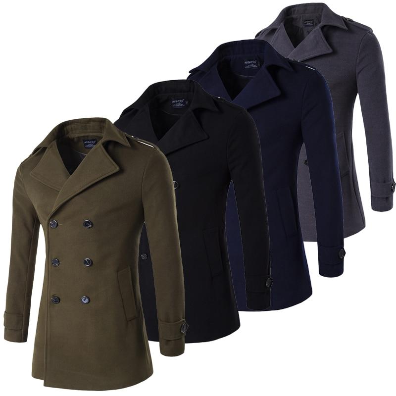 Armee Grün Grau Navy Schwarz Männlichen Pea Coat Männer Zweireiher Militär Winter Graben Mantel Lange Peacoat Männer Plus Größe 4xl Offensichtlicher Effekt