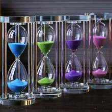 Home Decoration Ornament Crystal Hourglass With 15/30/60 Minutes Sand Clock Timer Xmas Gift Glass Sandglass Valentines Day Prese