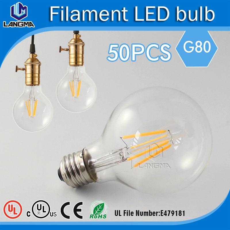 Edison Light Bulb Light Bulb 6w dimmable LED G80 filament bulbs G80 Retro  60Watt equal 220V E27 G80 european candelabra edison screw base e14 4 watt 4w dimmable g45 amber glass retro led filament small globe light bulb g14 e12