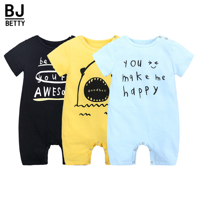 Casual   Rompers   Letter Printed Cartoon Loose Baby Boys Girls Clothing Wear Cotton Toddler Infant Newborn Baby Outfits BBR194