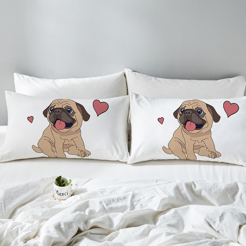 3D printed cartoon couple Pillow Case White Couple Lovers Gift Throw Pillowcases Home Beddroom Two Pair Pillows Bedding