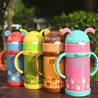 High Quality Kids Water Bottle Thermos Mug Lovely Stainless Steel Vacuum Cup For Kids With Straw 260ML Termos Garrafa Termica