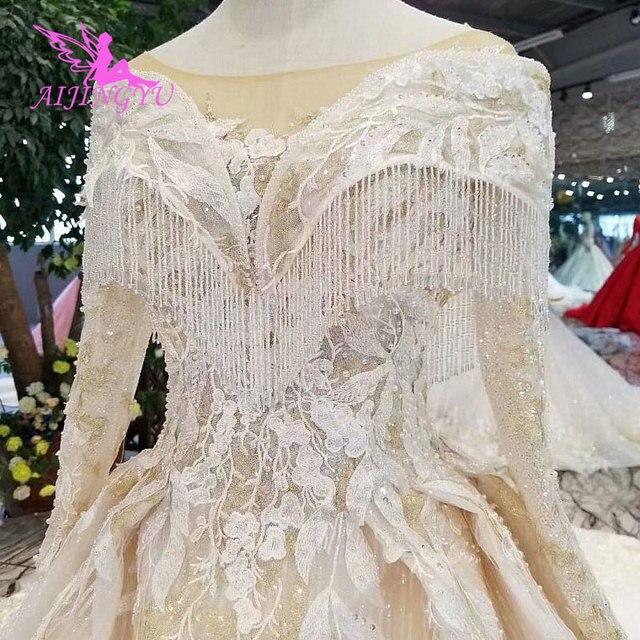 AIJINGYU تول فستان حمل أثواب زائد حجم الإسلامية اليابان الحقيقي ثوب الذيل فساتين الزفاف الرسمي
