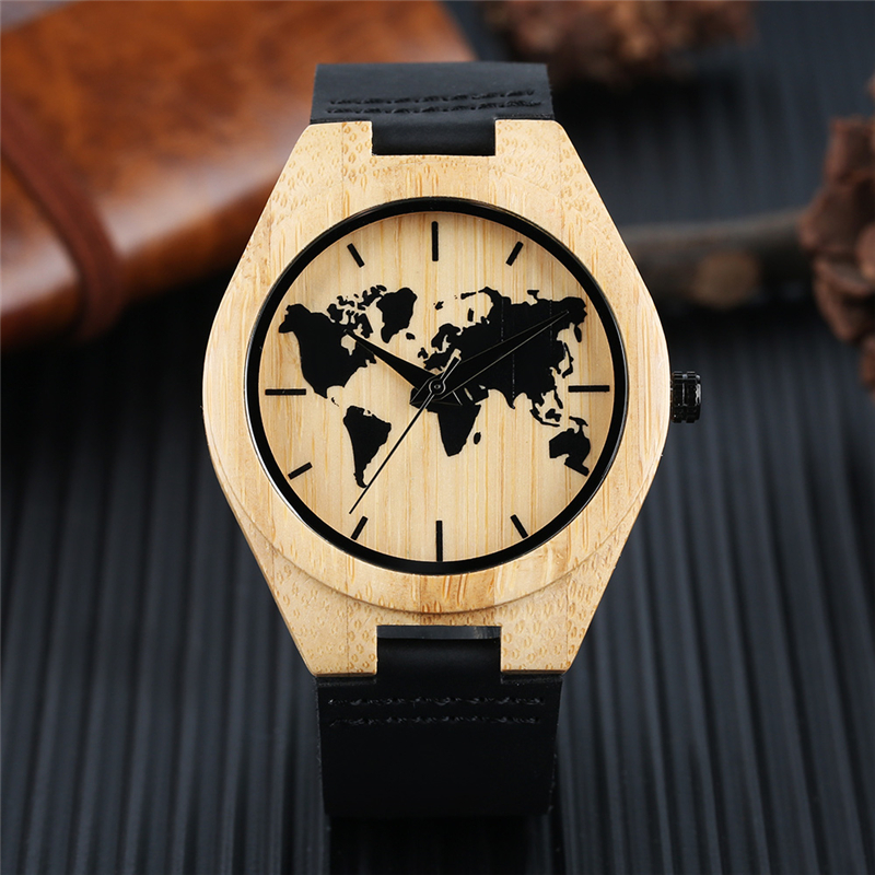 Minimalist Watch Men's Creative World Map Watch Natural Bamboo Wood Quartz Analog Handmade Clock Male Black Genuine Leather Hour yisuya minimalist creative new arrival genuine leather quartz fashion trendy wrist watch women nature wood bamboo analog clock
