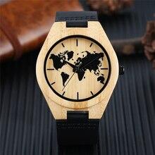 Minimalistischen Uhr männer Kreative Weltkarte Uhr Natürliche Bambus Holz Quarz Analog Handgefertigte Uhr Männlichen Schwarzen Echtleder Stunde