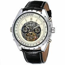Luxury Vintage Men Auto Mechanical Wrist Watch Leather Band Tachometer Tourbillion Working Sub Dial Skeleton Watch + GIFT BOX