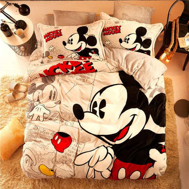Disney Flannel Fleece Mickey Mouse Comforter Bedding Set Queen