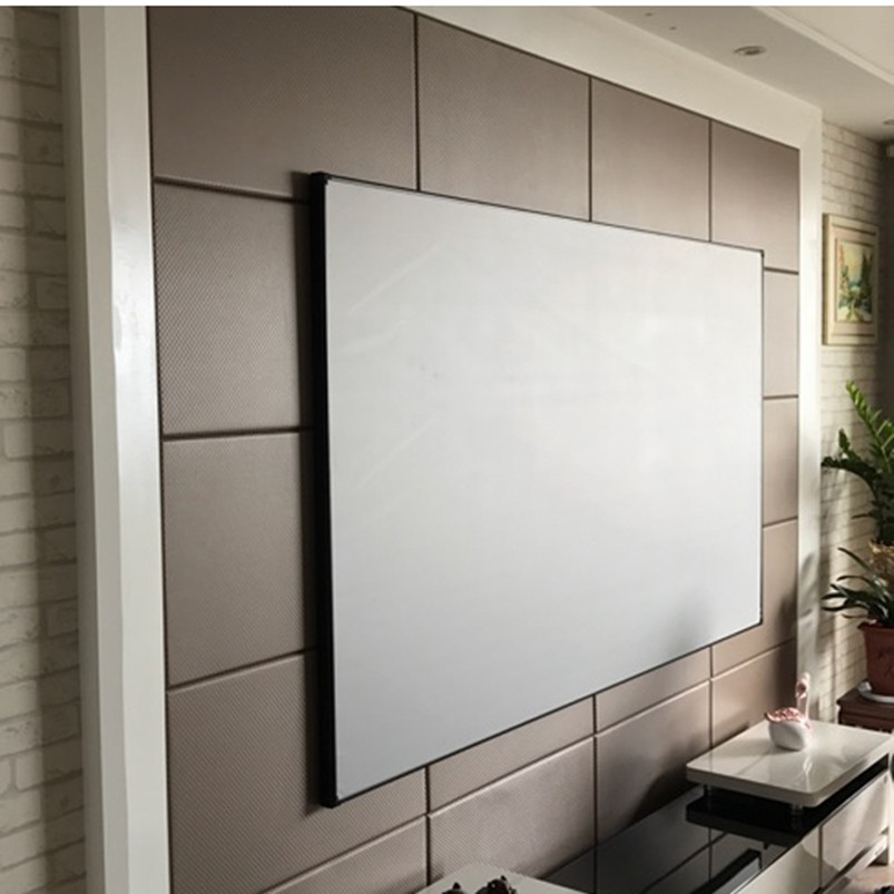 F2UWAW  2.35:1UltraWide Format Home Theater Thin Bezel Fixed Frame Projection Screen With 4K Woven Acoustic Transparent White