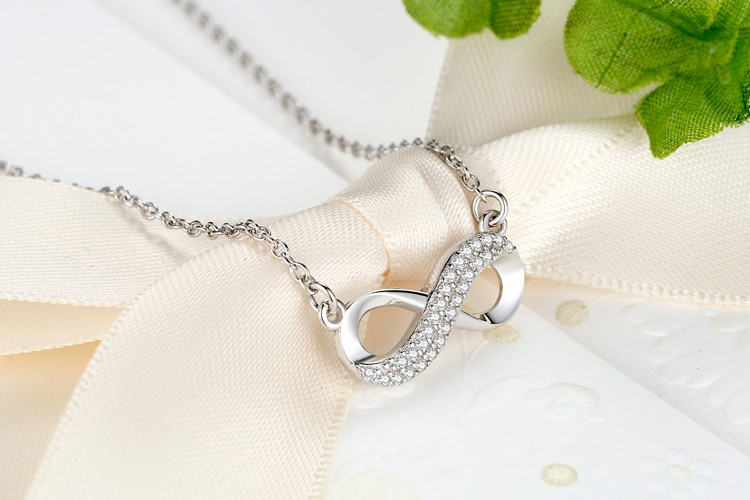 Luxury Silver Infinity Pendant Necklace
