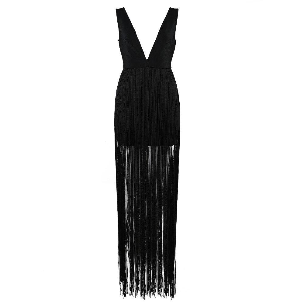 Bandage V Summer Verano Club Robe Maxi Party Noire 2018 Fringe New Glands Robes Femmes Celebrity Profonde Sexy dUn1qw7d