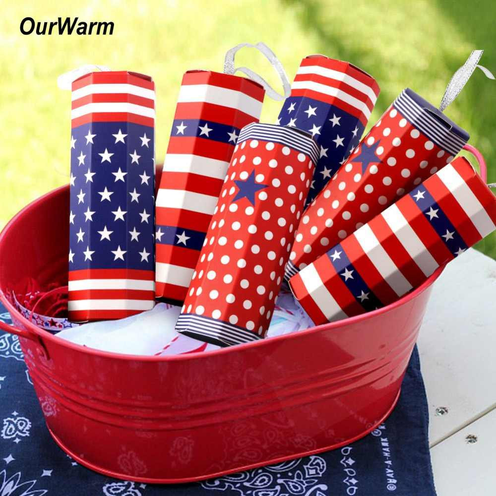 OurWarm 10Pcs Firework Candy Boxes 4th Of July American Flag For Wedding Favor Gifts Birthday Hawaiian