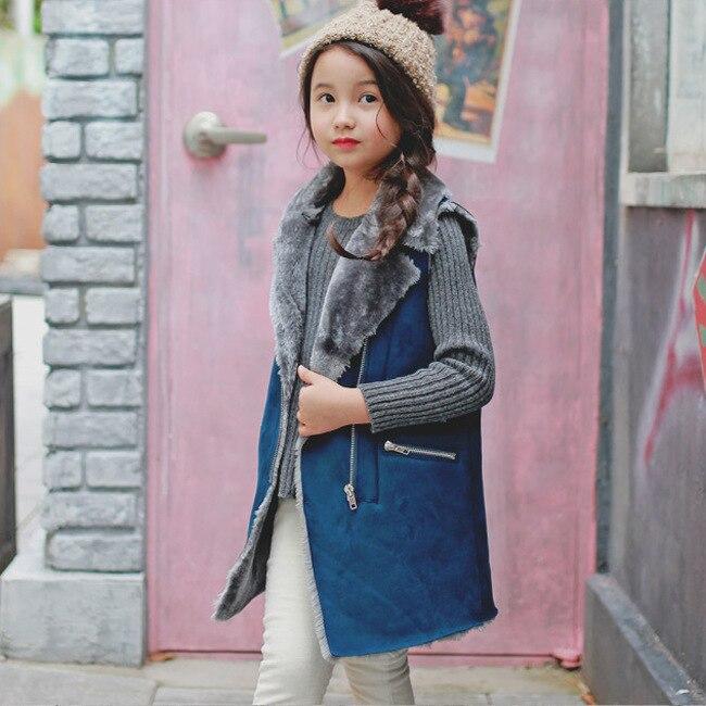 ФОТО Fashion Baby Girl Faux Suede Tank Kid Children Tops Outerwear Lamb Wool Vest