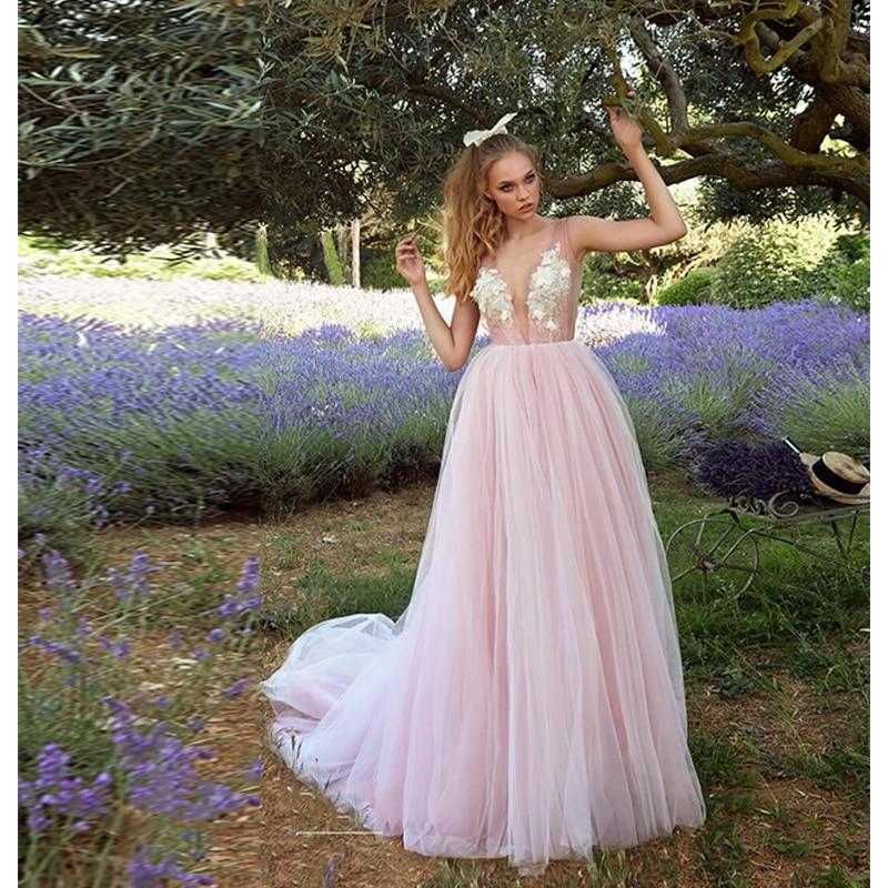 Verngo Beach Wedding Dress 2019 Pink A Line Wedding Dress V-back Bridal Dress Flowers Tulle Simple Wedding Gowns Suknia Slubna