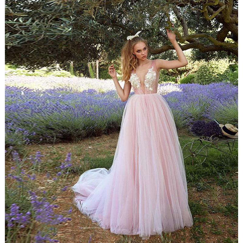 Verngo Beach Wedding Dress 2019 Pink A Line Wedding Dress V back Bridal Dress Flowers Tulle Simple Wedding Gowns Suknia Slubna in Wedding Dresses from Weddings Events