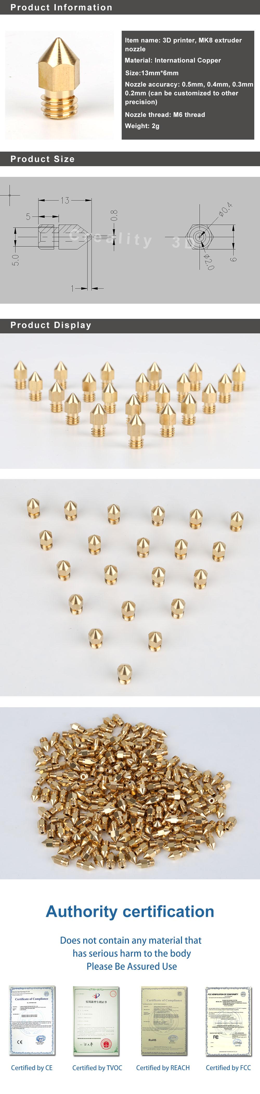 IsMyStore: 10pcs 3d printer nozzle 0.2/0.3/0.4/0.5/0.8/0.56mm/1.2MM option Extruder Print Head 3D Nozzle 3D Printer part For 1.75MM