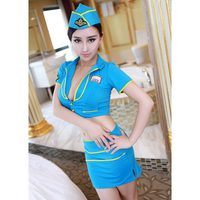 Nifty Stewardess Uniform Suits Role Play Nightclub Bar Sexy Lingerie DS Performance Highly Elastic Disfraces SL1582617