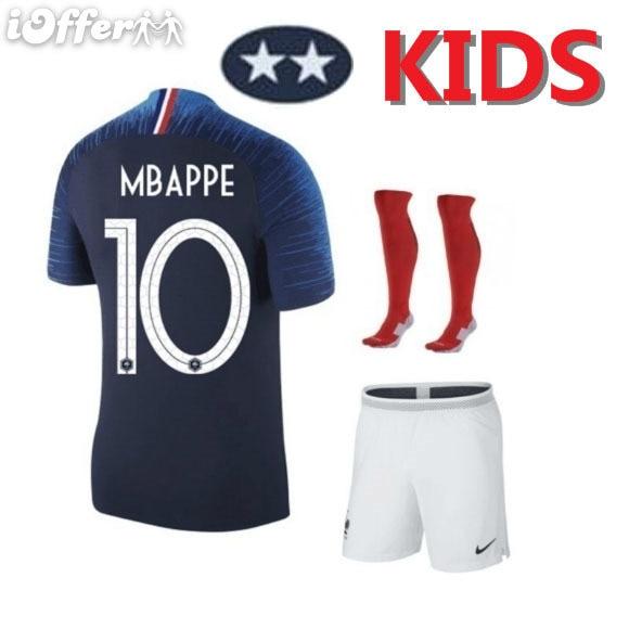 Junge Fußball Kurzarm 2018 Frankreich 2 Sterne Ausbildung Trikots Mbappe Griezmann Pogba Kinder Fußball Shirts Und Shorts Anzüge Herrenbekleidung & Zubehör