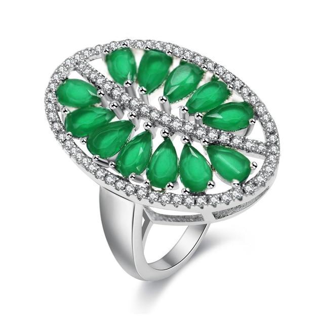 Uloveido Zielona Cyrkonia Liści Palmowych Pierścień Dla Kobiet ślub