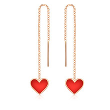 VOJEFEN 18K Rose Gold Red Heart Drop Earrings Women Long Tassel dangle Agate Inlay Chain Earrings(Red & Black)