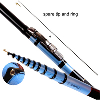 YUYU Carbon 4.5m 5.4m 6.3m 7.2m Telescopic Spinning Fishing Rod lure weight 3 50g Front end Fishing Rod 3 position Drag 5.5kg