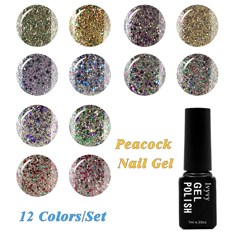 12 Colors/Set Fashion Women Peacock Series Gel UV LED Glitter Lacquer Polish Manicure 7ml Super Gel Nail Polish