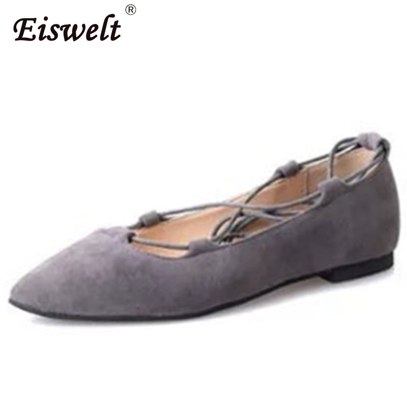Eiswelt Shoes 2017 Women Shoes Fashion Spring Women's Flats Cross-tied Roman Shoes Pointed Flock Shade Solid Color Shoes#GMJ22 new 2017 spring summer women shoes pointed toe high quality brand fashion womens flats ladies plus size 41 sweet flock t179