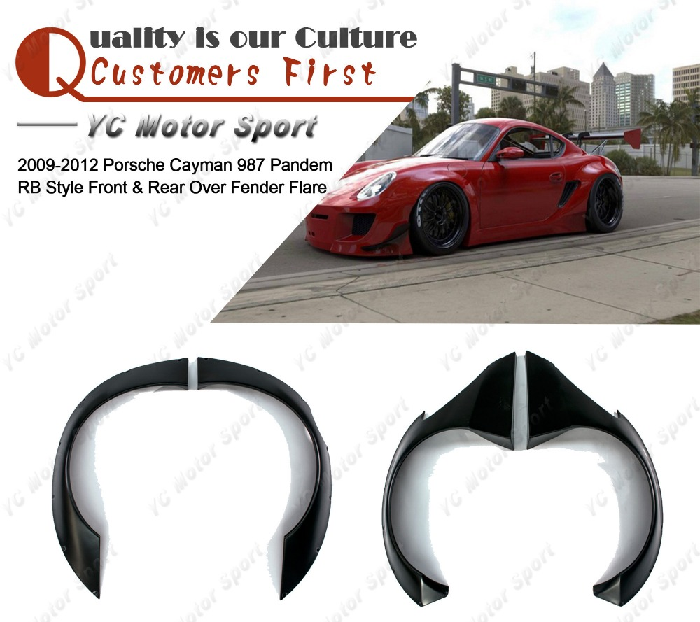 Car Accessories FRP Fiber Glass Pandem Style Over Fender Fit For 2009-2012 Cayman 987 RB Front  Rear Over Fender Flares Kit