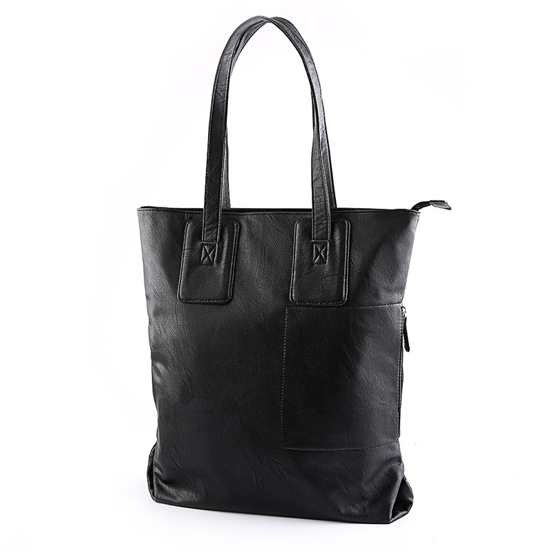 PU Leather shoulder bag black Men s Tote bag Casual business bag fashion handbag men purse