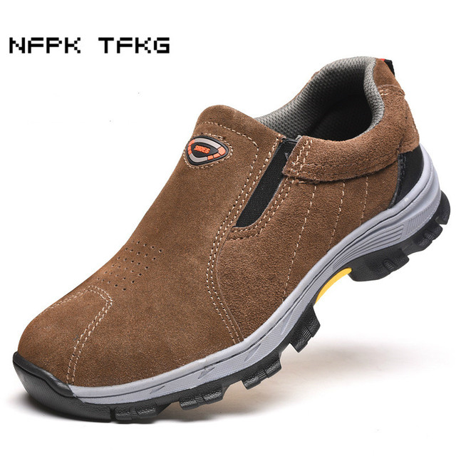 eb722301e73e Dos homens casuais respirável tamanho grande biqueira de aço calçados de  segurança de trabalho de couro