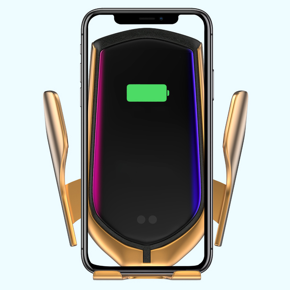Image 5 - R1 Automatic Clamping 10W Car Wireless Charger Infrared Induction Qi Wireless Charger Car Phone Holder  For Phone Sliver/Gold-in Mobile Phone Chargers from Cellphones & Telecommunications on