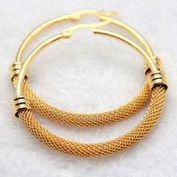 New Popular 316L Titanium Steel Earrings 18k Yellow Gold Plated Half Wire Design Hoop Earring For
