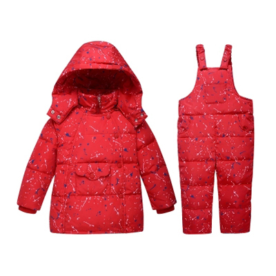 NEW 2016 Winter Children Clothing Sets Duck Down Jacket Sets Pants-jacket Hooded Baby Girls Winter jacket & coat Dot Pattern 1-4