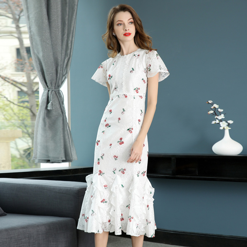 woman dress 2018 summer Elegant Lady Printing White Lace Hollow out Short  Butterfly Sleeve Mid- f36608bd62af