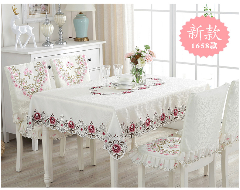 European-style tablecloth, openwork embroidery table flag, simple fabric tablecloth dining coffee cloth